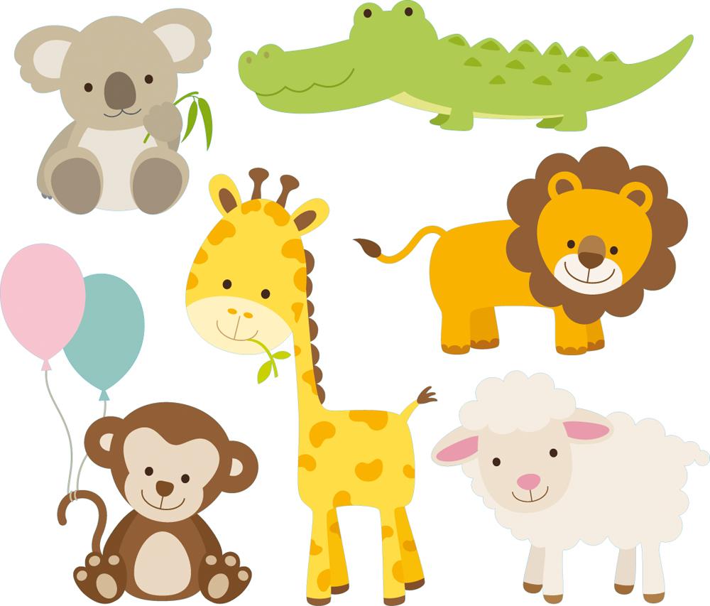 Vinilos folies kit vinilo decorativo infantil 6 animales for Vinilos infantiles animales