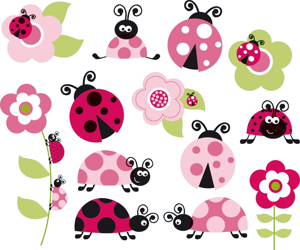 Vinilos folies kit vinilo decorativo infantil mariquita for Stickers de pared infantiles