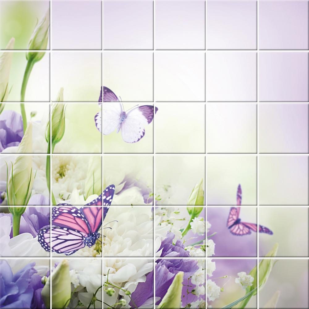 Vinilos folies vinilo azulejos flores mariposas - Azulejos con flores ...