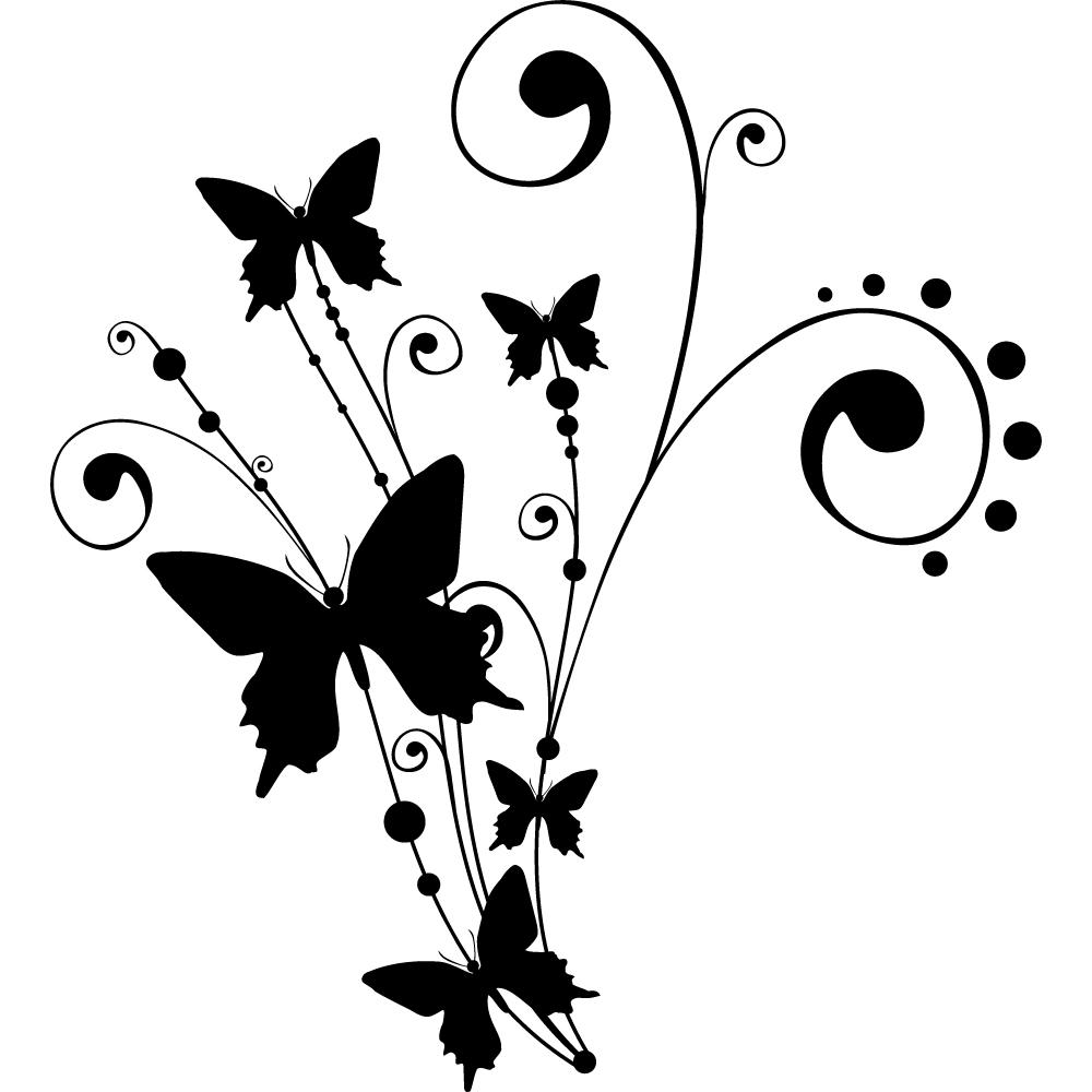 Vinilos folies : Vinilo decorativo Flor con Mariposa