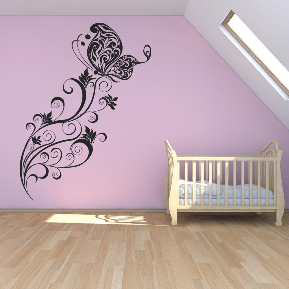 Vinilos folies vinilo decorativo flor con mariposa for Vinilos decorativos pared musicales