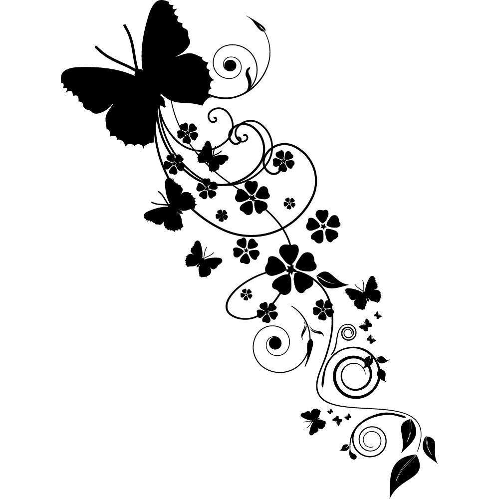 Vinilos folies vinilo decorativo flor con mariposa - Dibujos para paredes infantiles ...