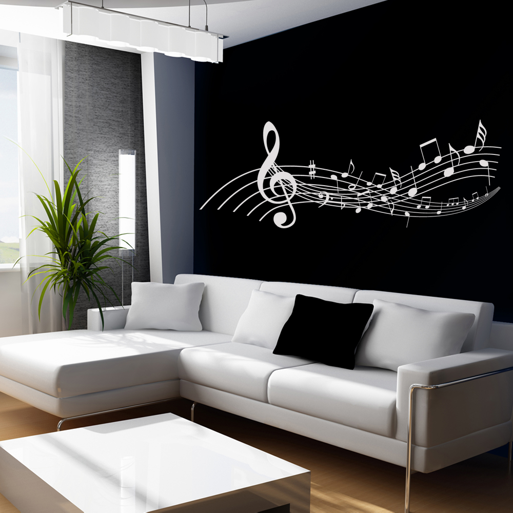 Vinilos folies vinilo decorativo pentagrama musical for Vinilo decorativo musical pared