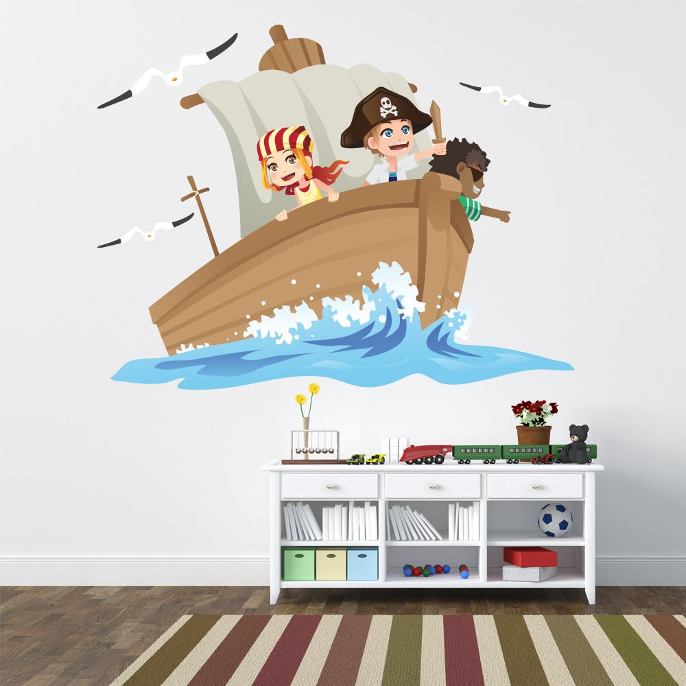 Vinilos folies vinilo infantil barco pirata Vinilos de pared infantiles